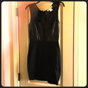Black and faux leather dress